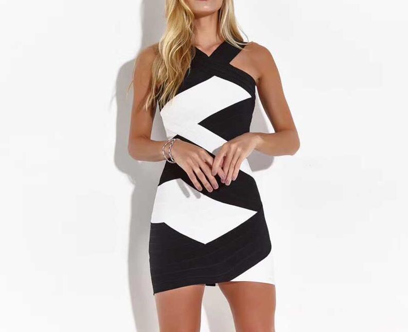 Robe Bandage blanc et noir Mini moulante robe Sexy boîte de nuit célébrité robe de soirée Mini été
