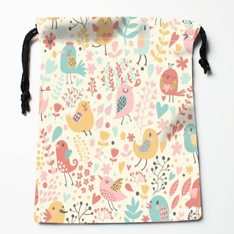 High Quality Custom Bird Art Printing Storage Bag Drawstring Bag Gift Satin Bags 27x35cm Compression Type Bags