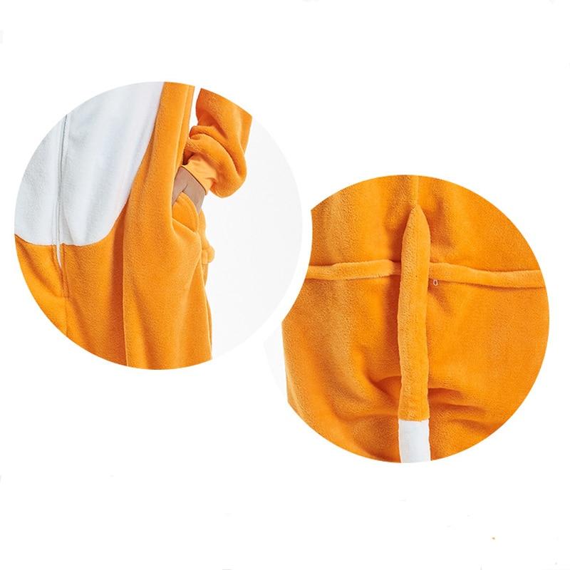Amusing Orange Fox Animal Kigurumi Flannel Onesie Soft Women Pajamas Party Bodysuit Cosplay Unisex Sleepwear Halloween Pyjamas