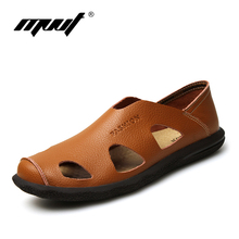 MVVT New style Summer men's sandals Soft cow leather shoes men slippers Breathable casual home slippers men shoes