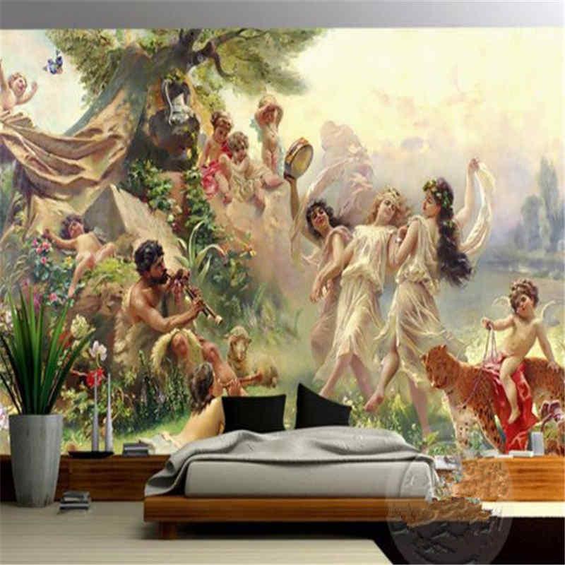 3d обоями Европейский классическая картина маслом Ангел рай угол фрески для гостиной фон украшения дома обои