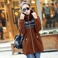 Más el Tamaño XL-5XL 6XL Mujeres Capa de la Chaqueta de Nueva Otoño Invierno Estilo Moda Casual Vestido vestido de Mujer Femenina Sudadera prendas de Vestir Exteriores Superior