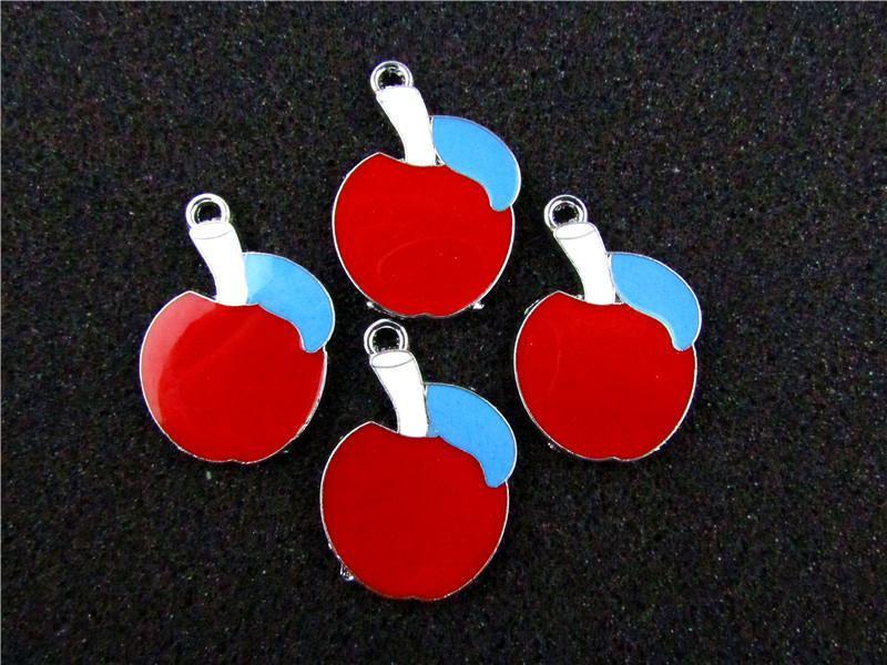 AE295 Mix Color 100Pcs Alloy Metal Enamel Apple Charms Pendants 31x22mm
