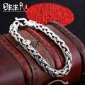 Beier 925 plata esterlina pulsera de cadena de enlace simple cruz de la forma de moda hombre pulsera de cadena de mano sctyl0058