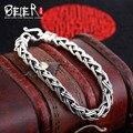 Beier 925 prata esterlina pulseira chain link simples forma de cruz na moda homem pulseira cadeia mão sctyl0058