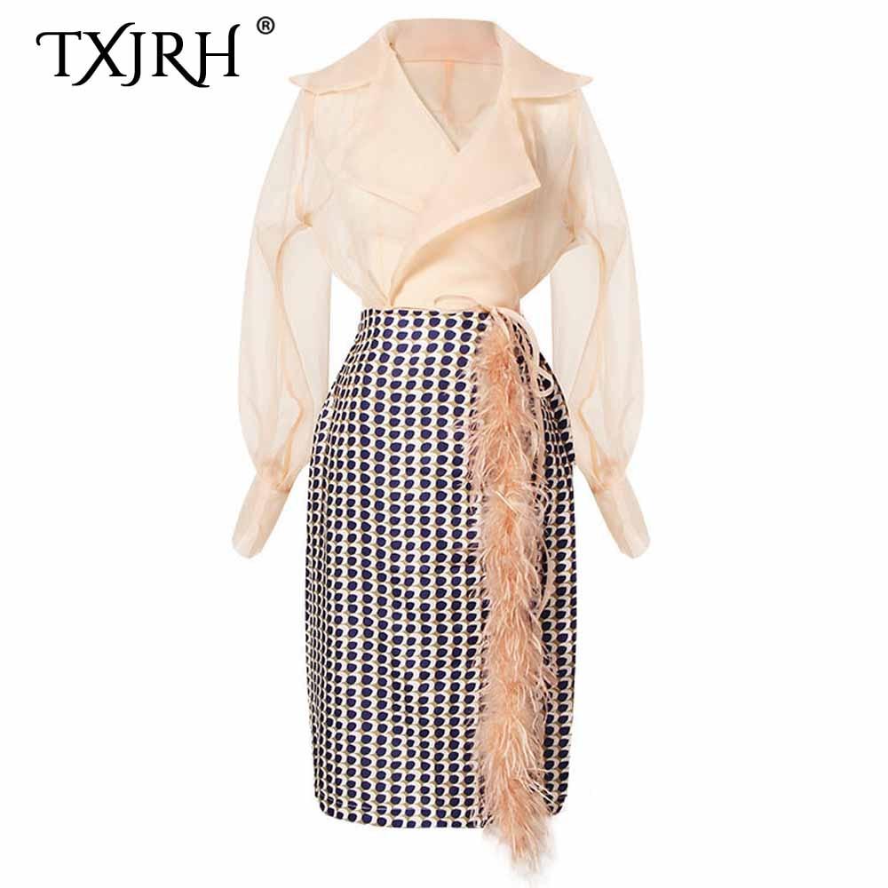 TXJRH Fashion Women 1 Set Notched Semi Sheer Bow Tide Wrap Chiffon Shirt High Waist Faur