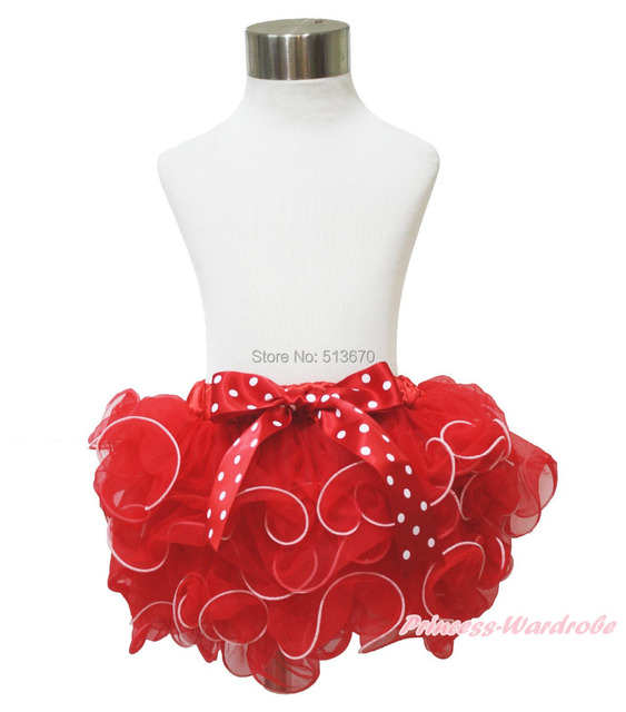 XMAS PARTY Hot Red Petal Pettiskirt & White Dot Bow Baby Girl Clothing NB-8Year MADRE0004