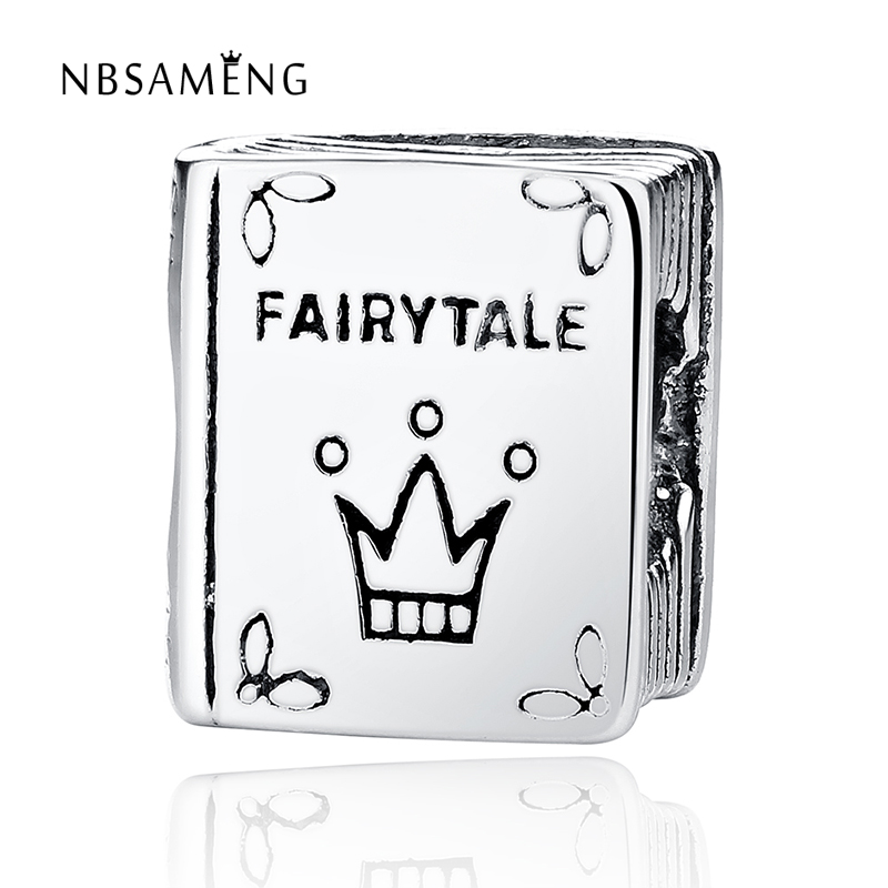 Authentic 925 Sterling Silver Thread Bead Fairytale Crown Book Charm Beads Fits Pandora Bracelet & Bangle DIY Jewelry
