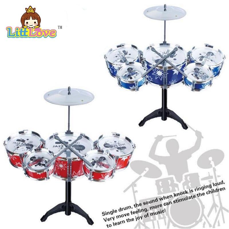 LittLove Laste lapse džässitrumli komplekt muusikainstrumendi mänguasjaplokk, millel on 5 trumlit tsümeeriastme aluspükside mänguasjad lastele