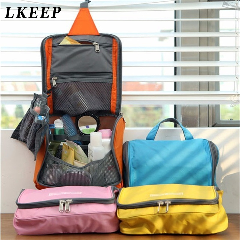 Women Hanging Travel Cosmetic Bag Zipper Make Up Bag Polyester High Capacity Makeup Case Handbag Organizer Storage Wash Bath Bag