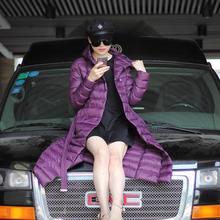 2015 Women Ultra Long Down Coat Down Parka Hooded Warm Coat Ultralight Parka Purple Green Free Shipping