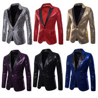 NEW Men Sequins Clubs Wedding Party Tuxedo Dinner Formal Suit Jacket Coat One Button Pocket Plaid Blazers Clothing