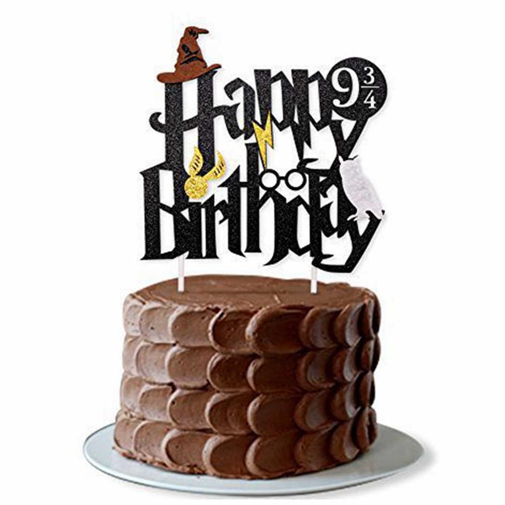 Harry Potter Happy Birthday Banner Cake Topper Hogwarts Lightning Felt Flags Bunting For Baby Party