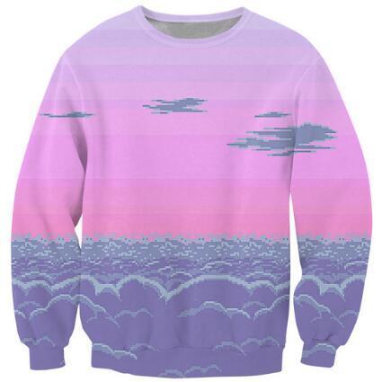 Pixel Sunset Crewneck Sweatshirt Scene Of 8-Bit Clouds Vibrant Jumper Women Men Unisex Fashion Clothing Sweats Hoodies