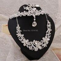 Neue Ankunft gehobenen braut jewel großhandel perle tiara hochzeit halskette dreiteilige hochzeit schmuck set bijuterias halskette set