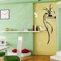 イスラム壁のステッカー3dアクリルchlorophytum蝶ウォールステッカーデカール用ウェディングルームリビングルームホームウォールステッカ