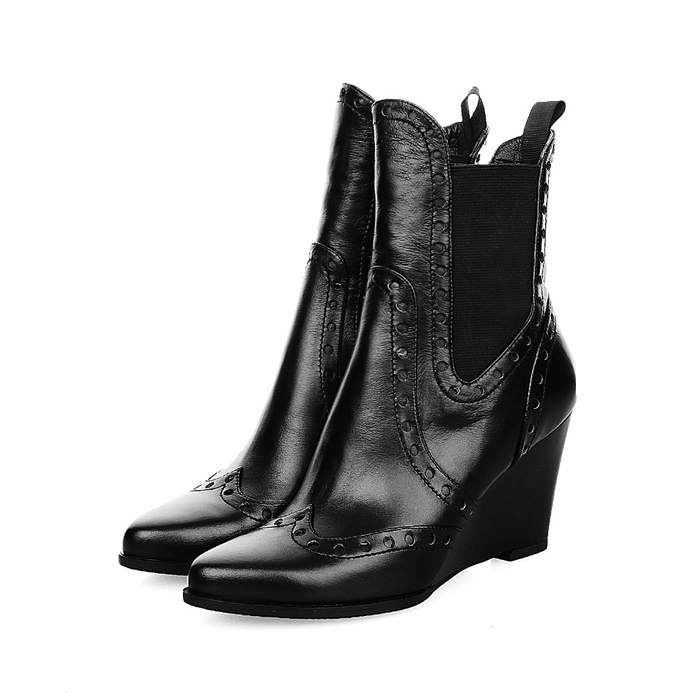 ФОТО 2016 Women Boots New Fashion Riding Boots Solid Size Plus 35-42 Wedges Pointed Toe Elastic band Winter Full Grain Leather Solid
