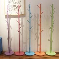 Color Multicolor 9 hook Modern Solid Wood Living Room Coat Rack Display Stands Scarves Hats Bags Clothes Shelf