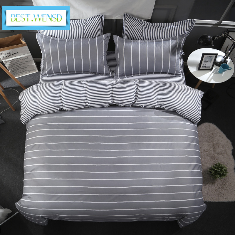 BEST WENSD Simple striped winter 4pcs bedding set cotton king size Soft comfortable Large double bedlinen
