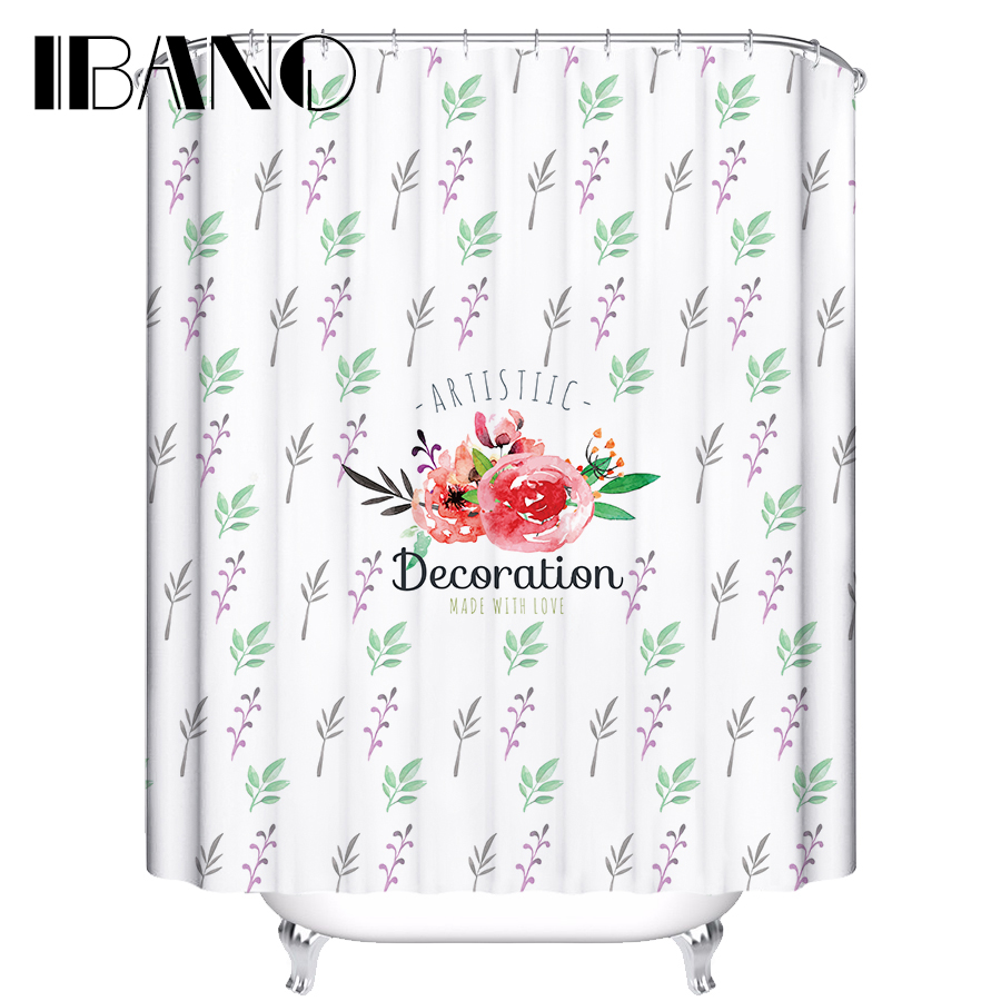 Youtube Fashional Design Flowers Shower Curtain Waterproof Polyester Fabric Curtain For The Bathroom With 12 Hooks in Shower Curtains from Home Garden