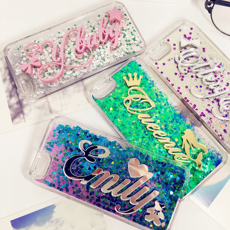 Exclusive Customize Name liquid glitter soft case for iphone 6 6s 7 8 X plus for Samsung Galaxy s6 s7 edge s8 s9 plus note 5 8