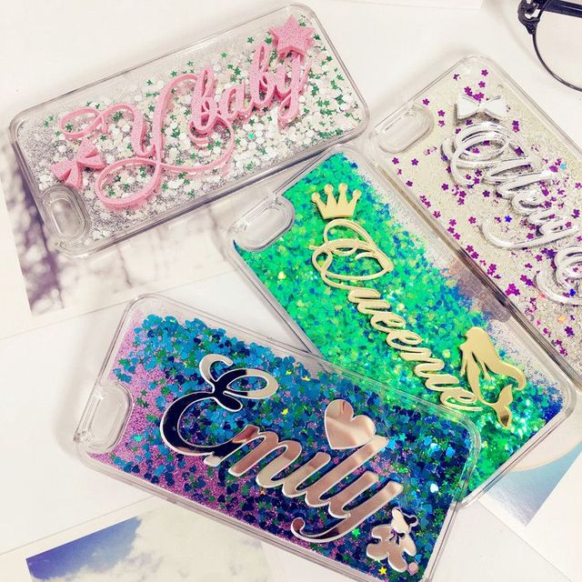 Esclusivo Personalizza Nome liquido glitter custodia morbida per iphone 5 5 s SE 6 6 s 7 8 X plus per Samsung Galaxy s6 s7 s8 bordo nota 5 8