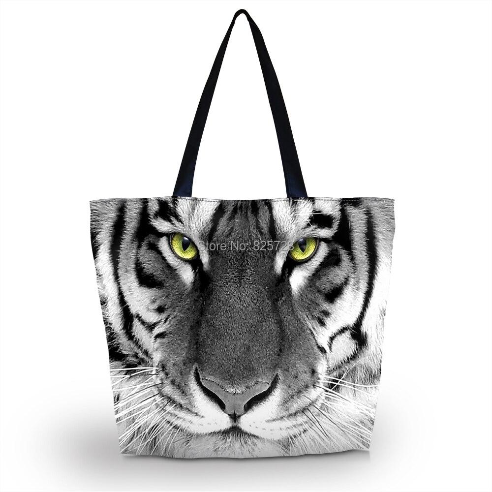 Tiger Face Soft Foldable Zipper Shopping Bag Ladies Womens Shoulder Shopping Tote School Bag Handbag Beach Bag Free Shipping