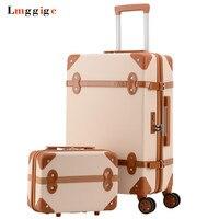 Vintage Haddeleme Bagaj çantası, Moda Seyahat Bavul Tekerlek, Yüksek kaliteli ABS tekerlekli çanta, Kadın Kutusu, erkekler Klasik Carry-On