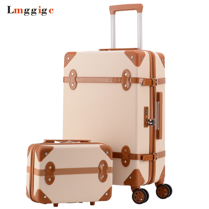 Vintage Rolling Luggage bag,Fashion Travel Suitcase with Wheel,High quality ABS Trolley Case,Women Box,Men Classic Carry-On