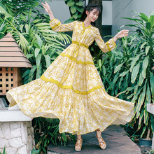 Free Shiping Boshow 2019 Fashion Women Long Maxi Lantern Sleeve Dresses Spring Summer Bohemian Yellow Flower Ruffles Dress S-L