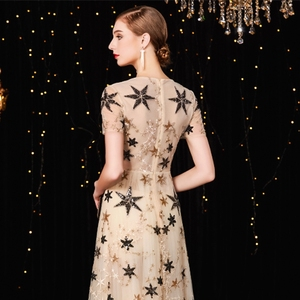 Image 3 - Jancember vestido フォーマル mujer 高ネック a ライン半袖イリュージョンスパンコールエレガントなカクテルドレス коктельное платье