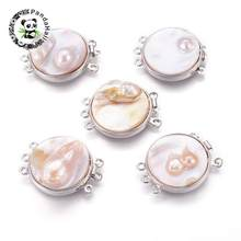 Natural Pearl Shell Box Clasps Multi-Strand Links Clasps DIY Jewelry Making with Brass Findings Flat Round 34x27x7~14mm Hole 2mm(China)