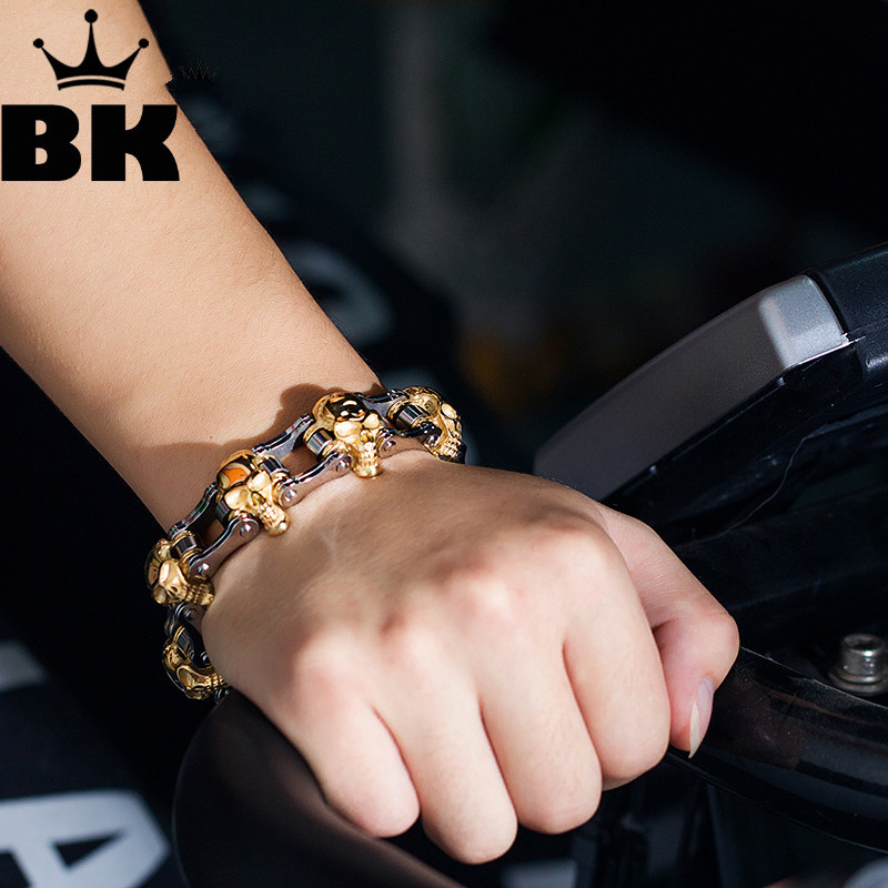 Large Gothic Skull Biker Stainless Steel Men's Bracelet 22cm Punk Style Male Bangles Wholesale Hot Sale New 2018 Fashion Jewelry цена 2017