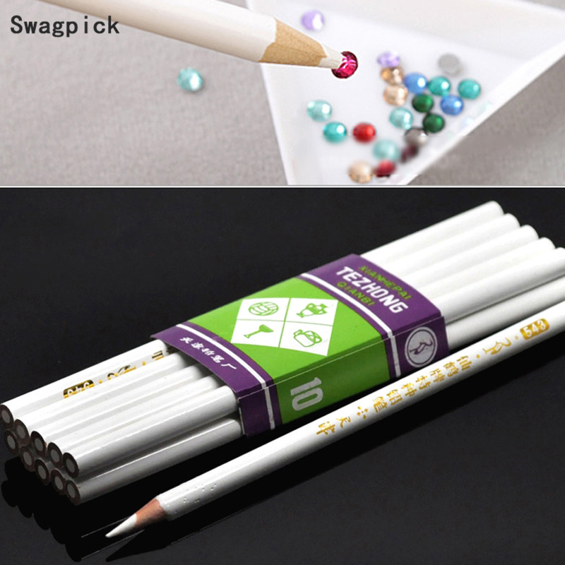 Swagpick 10Pcs/Lot Pro Wax Dotting Pen Nail Art Rhinestones Gems Picking Crystal Tools Pencil Pen Easily Pick Up Pen Manicure