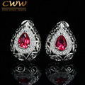 Vintage Design Pear Shaped Created Ruby Red Crystal Women Clip Stud Earrings With Cubic Zirconia Stone Paved CZ357
