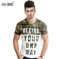 JACK CORDEE Fashion T Shirt Men Camouflage Printed Slim Fit Cotton Letter Short Sleeve T Shirts