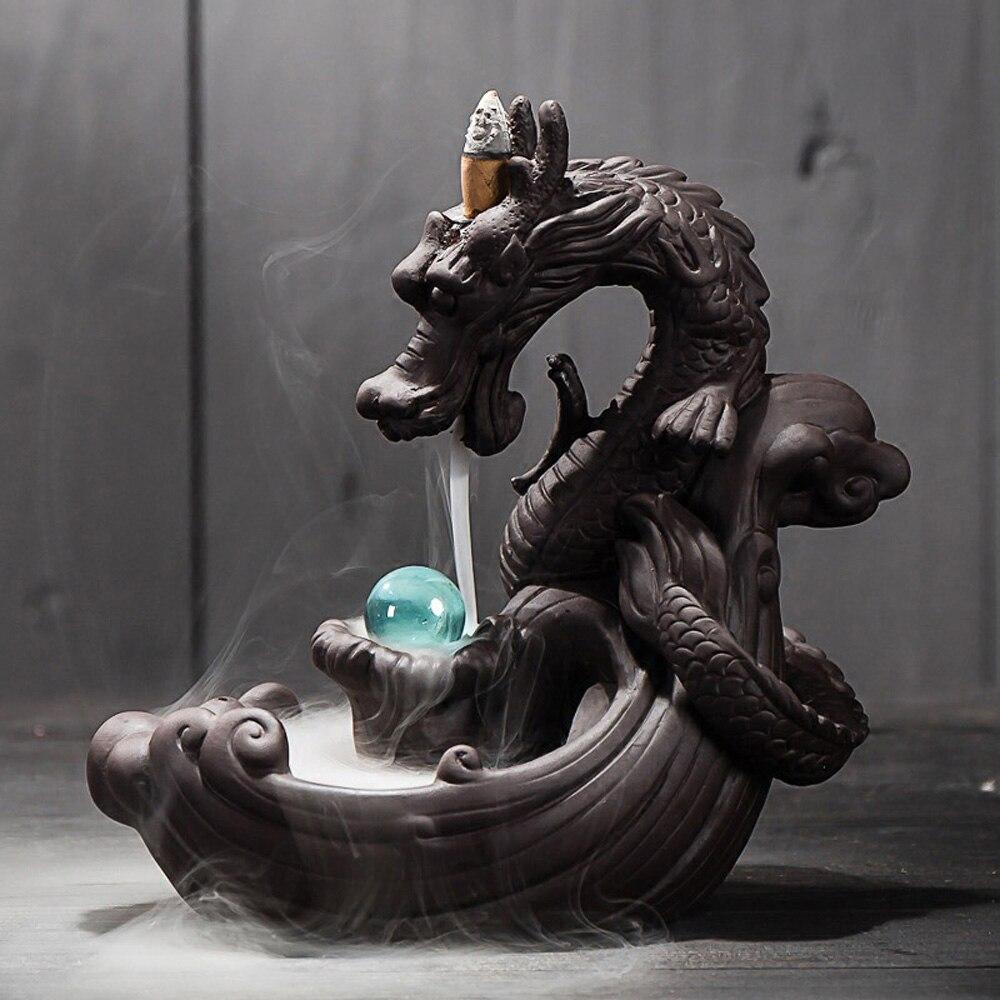 Refluxo de cerâmica queimador incenso dragão fumaça cerâmica cachoeira incenso titular incenso com bola cristal decoração para casa