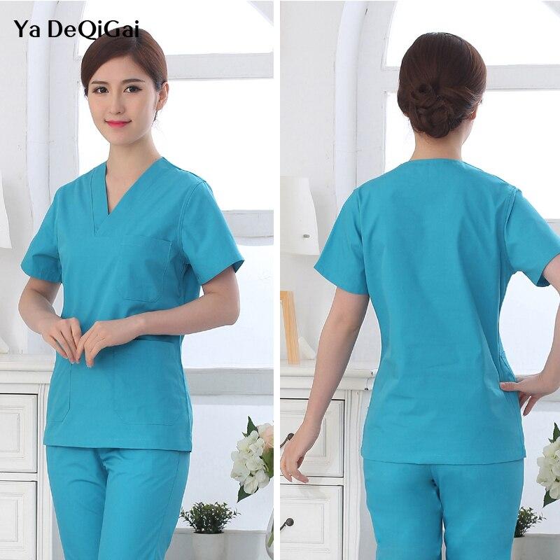Hospital Doctor Nurse Surgical Gown Medical Uniforms White Scrubs Sets Women Short-sleeved Medical Suit Scrubs Nursing Uniforms