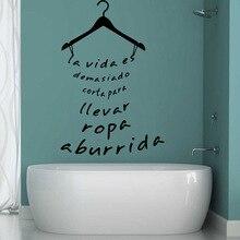 Beauty Hanger Wall Sticker Hot spanish sentences  Bathroom Decoration Vinyl Art Fashion Removable Ornament XL42