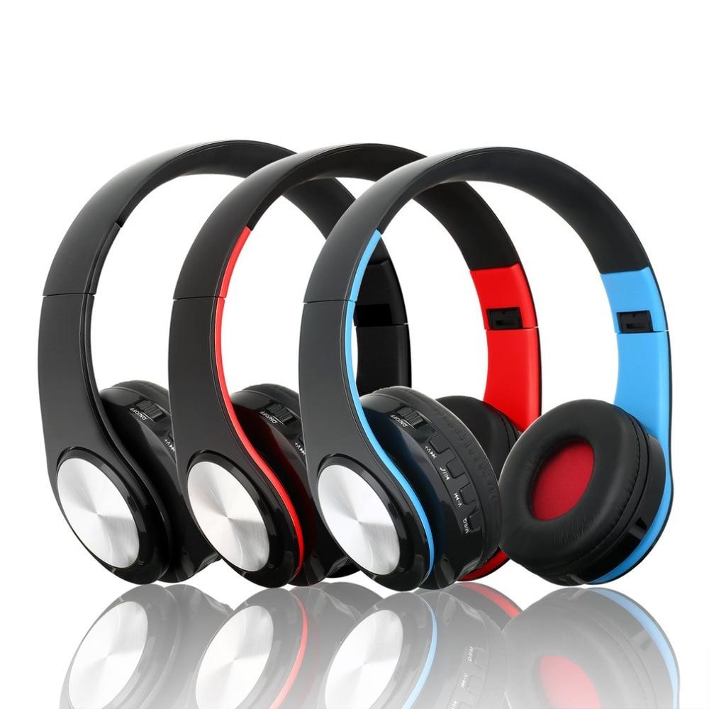 Bluetooth Headphones Foldable Wireless Headset Stereo Headphone with Mic Sport Noise-Cancellation Headband Earphones MP3 Player ks 509 mp3 player stereo headset headphones w tf card slot fm black