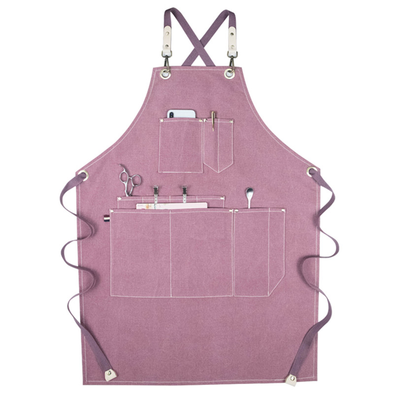 Canvas Apron Crossback Cotton Strap Barista Bartender Pastry Waitstaff Uniform Barber Hairdresser Florist Gardener Work Wear