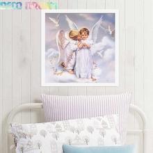 купить Diy Full Round Resin Kids Diamond Embroidery Painting Rhinestones Kit Two Little Angels Cartoon Mosaic Decor As Good Hobby Gift дешево