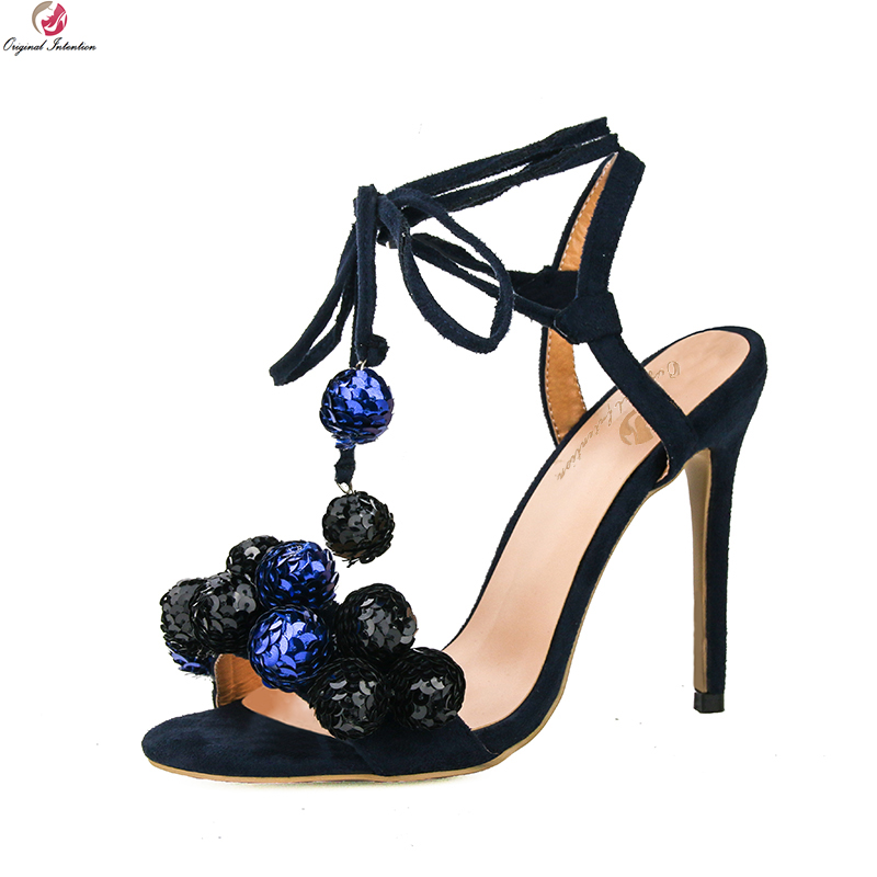 Original Intention Super Fashion Women Sandals Ankle Strap Open Toe Thin High Heels Blue White Shoes Woman Plus US Size 3-10.5