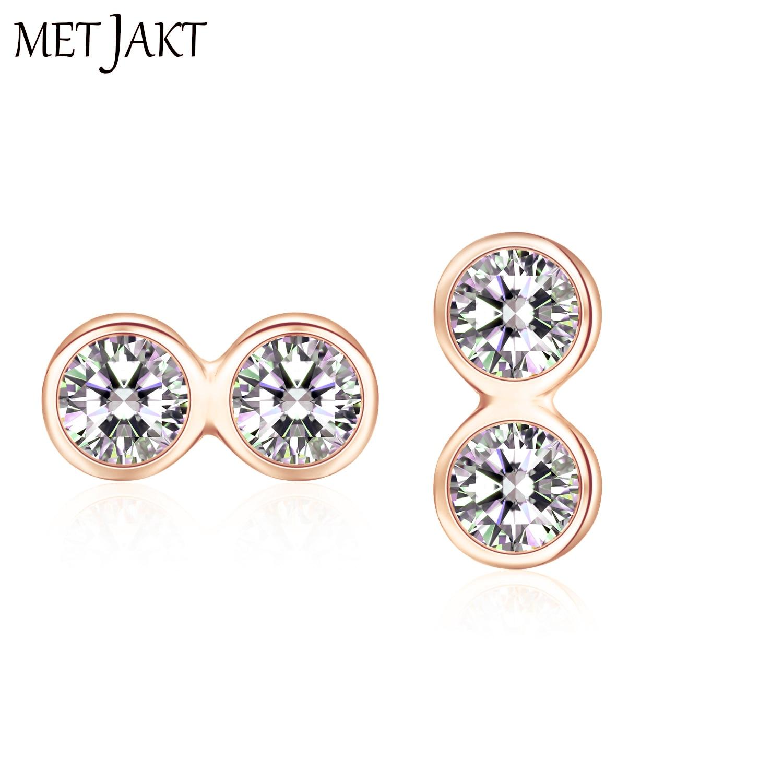 7261957e16a3f US $9.25 42% OFF|MetJakt Fashion Simple Two Zircon Stud Earrings & 14k Rose  Gold Plated Jewelry Solid 925 Sterling Silver Earrings for Women-in ...