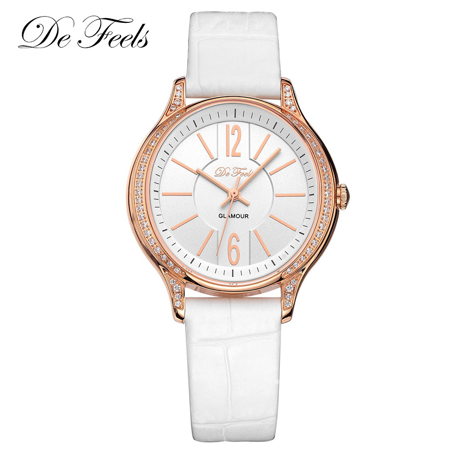 Women Luxury Sapphire Glass Watch Fashion Ladies High Quality Genuine Leather Strap Female Watches Wrist Watches De Feels Clock