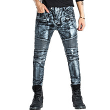 купить Moto Jeans 2019 Men Skinny Jeans Men Runway Slim Racer Biker Stretch Hiphop Jeans For Men Denim Pants Trousers Robin Jeans Homme дешево