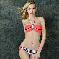 Brand Bikinis Set 2016 Summer Women Trikini Bikini Striped Swimsuit Swimwear Bathing Suit Maillot De Bain