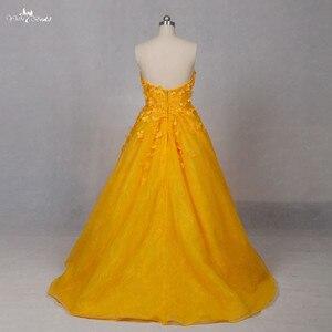 Image 2 - Lz151 alibaba querida laço vestido amarelo real floral alta baixa vestido de baile vestidos