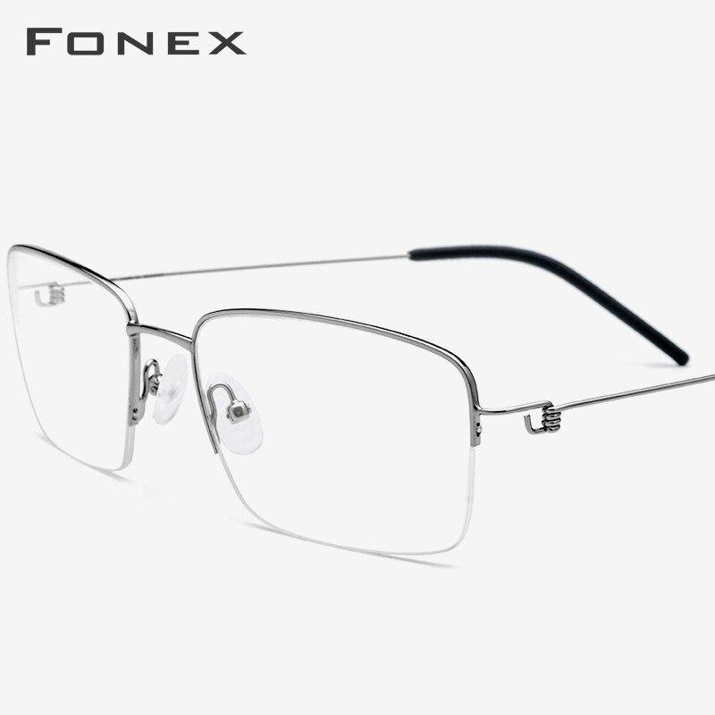 FONEX Titanium Alloy Optical Eyeglasses Frame Men Half Prescription Glasses Korean Women Myopia Screwless Eyewear 98623