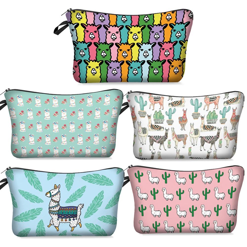 Alpaca Water Resistant Cosmetic Makeup Bag Multicolor Aniaml Printed Bag Organizer Llama Multifunction Beauty Case Makeup Pouch